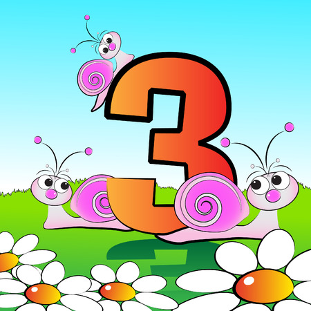 Animals and numbers series for kids, from 0 to 9 - 3 snails