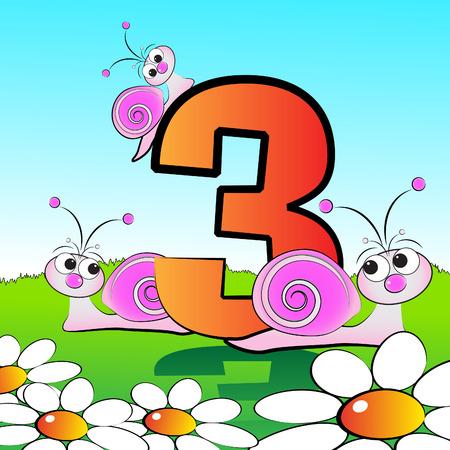 Tiere und Nummern-Serie für Kinder von 0 bis 9 - 3 Schnecken Standard-Bild - 4867803