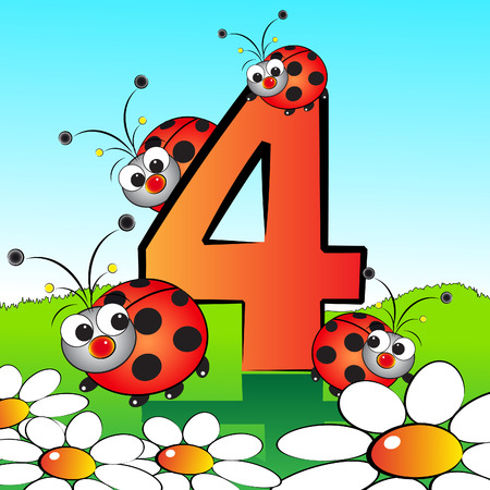 Animals and numbers series for kids, from 0 to 9 - 4 Ladybirds Illustration