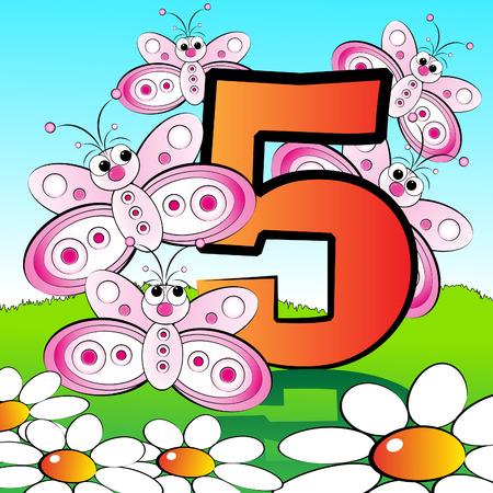 Animali e numeri di serie per bambini, da 0 a 9 - 5 farfalle