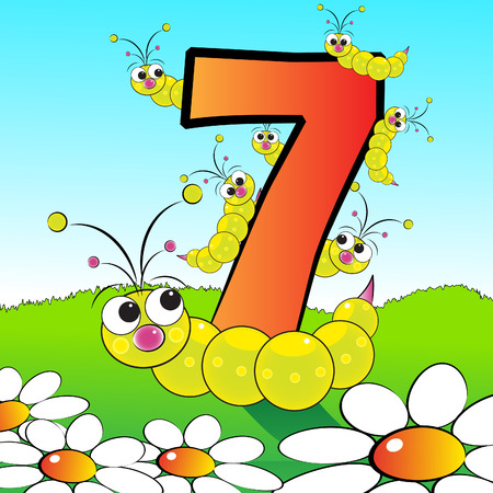 Animals and numbers series for kids, from 0 to 9 - 7 grubs Vectores