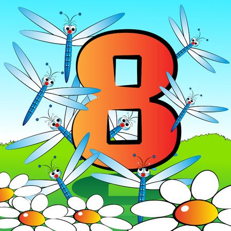 Animals and numbers series for kids, from 0 to 9 - 8 dragonflies