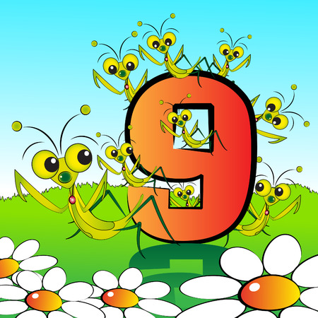 arithmetical: Animals and numbers series for kids, from 0 to 9 - 9 mantis