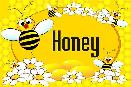 Etikett mit Bienen Honig, Blumen und Honigwaben. Broschüre oder Visitenkarte nützlich Standard-Bild - 4902960