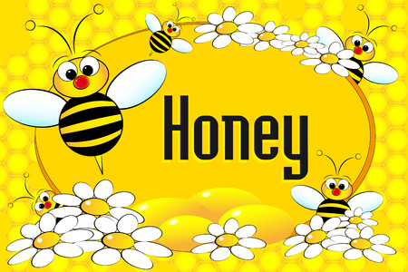 abeja caricatura: Etiqueta con las abejas de miel, flores y nido de abeja. Folleto o tarjeta de negocios útil
