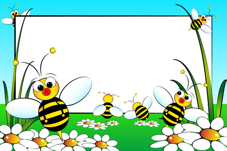 Kid scrapbook with bees and white daisies - Photo or message frames for   children Vector