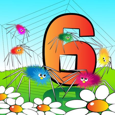 0 6: Animals and numbers series for kids, from 0 to 9 - 6 spiders