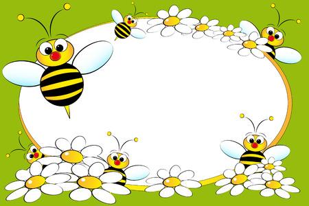 abejas: Bloc de notas con el ni�o abejas y margaritas blancas - los marcos de fotos o un mensaje para los ni�os Vectores