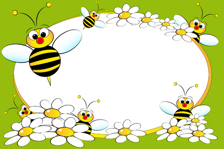 bee on flower: Kid scrapbook with bees and white daisies - Photo or message frames for children Illustration