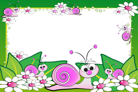 Kid scrapbook with snails and white daisies - Photo or message frames for children
