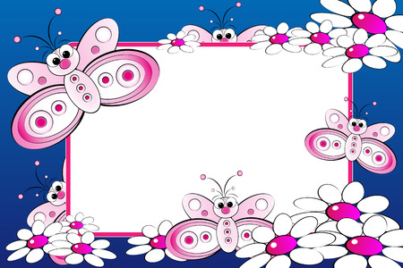 photoframe: Kid scrapbook with butterflies and white daisies - Photo or message frames for children Illustration