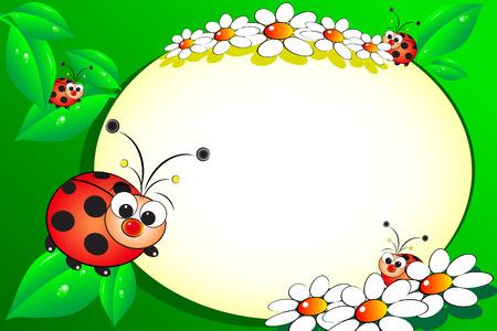Bloc de notas con el niño mariquita y margaritas blancas - los marcos de fotos o un mensaje para los niños