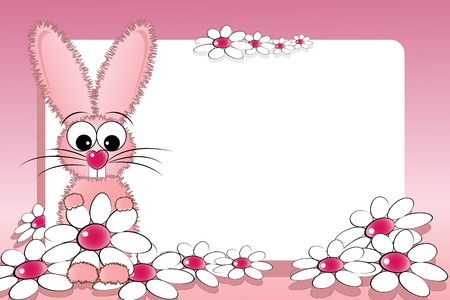 Kid scrapbook with pink bunny and white daisies - Photo or message frames for children Illustration