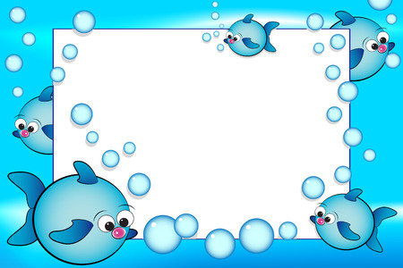 cartoon swimming: Kid scrapbook with fish and bubbles - Photo or message frames for children Illustration