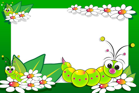 Kid scrapbook with grub and white daisies - Photo or message frames for children Vector