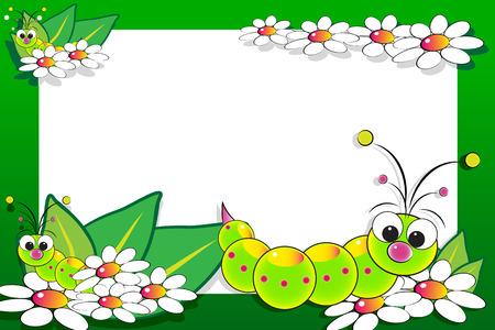 children caterpillar: Kid scrapbook with grub and white daisies - Photo or message frames for children