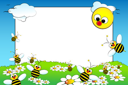 photoframe: Kid scrapbook with bees and white daisies in a field with sun - Photo or message frames for children Illustration