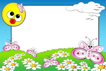 Kid scrapbook with butterflies and white daisies in a field with sun - Photo or message frames for children Vector