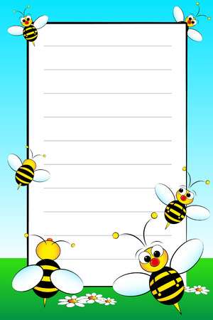 notebook page: Kid notebook page with bees and white daisies - Lined page for children