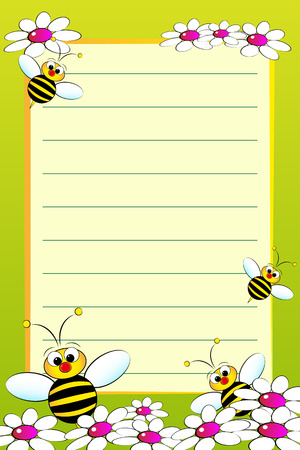 Kid notebook page with bees and white daisies - Lined page for children Vector