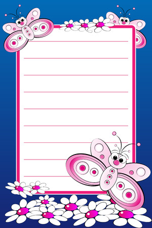 Kid notebook page with butterflies and white daisies - Lined page for children