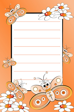 notebook page: Kid notebook page with butterflies and white daisies - Lined page for children