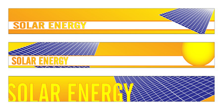 photovoltaic: Web banner, business card, label or insignia for green energy project