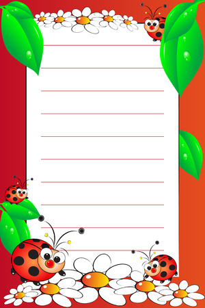 Kid notebook page with ladybugs and white daisies - Lined page for children Vector