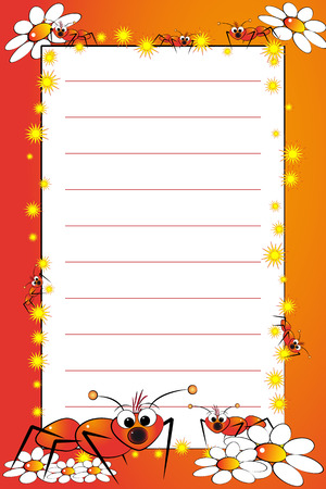 Kid notebook page with ants and white daisies - Lined page for children