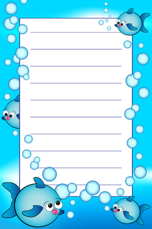 Kid notebook page with fishes and air bubbles  - Lined page for children Vector