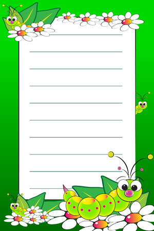 Kid notebook page with grubs and white daisies - Lined page for children Stock Vector - 5006368