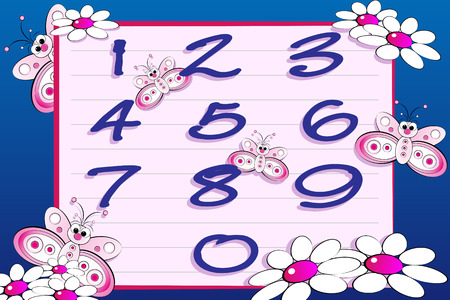 Butterflies and numbers series for kids, from 0 to 9 Vector