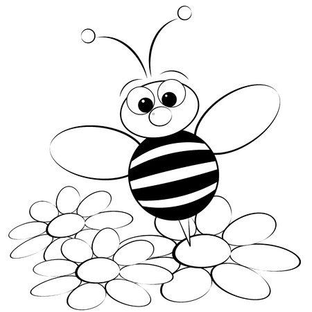 Kids illustration with ant and daisy - Coloring page