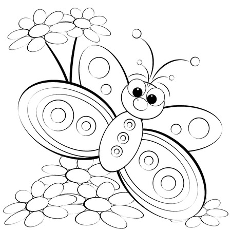 page design: Kids illustration with butterfly and daisy - Coloring page
