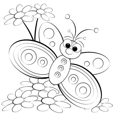 dibujos para colorear: Niños mariposa con la ilustración y margaritas - Colorear página