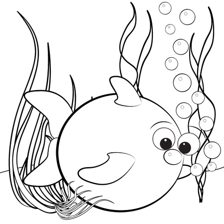 anemones: Kids illustration with fish and air bubbles - Coloring page  Illustration