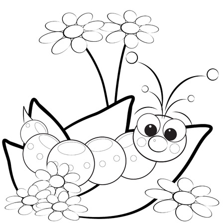 caterpillar worm: Kids illustration with grub on leaves with flowers - Coloring page