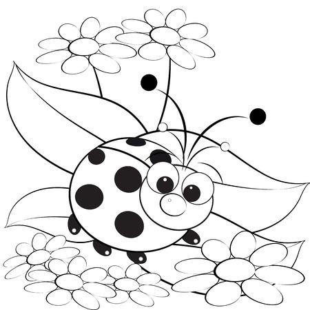 margriet: Kids illustratie met lieveheersbeestje en Daisy - Kleurplaat pagina