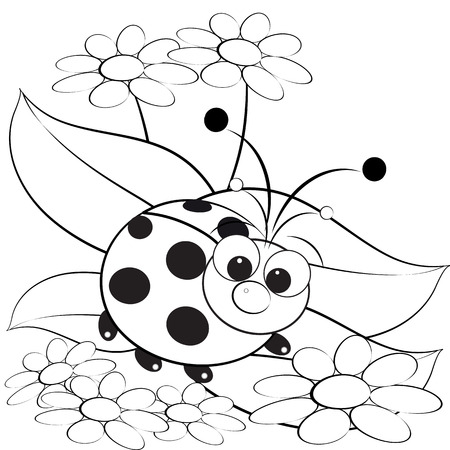 Kids illustration with ladybug and daisy - Coloring page  Vector
