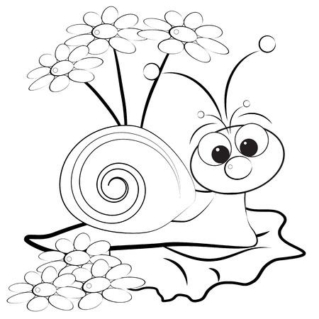 margriet: Kids illustratie met slak en Daisy - Kleurplaat pagina