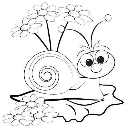 Kids illustration with snail and daisy - Coloring page  Vector