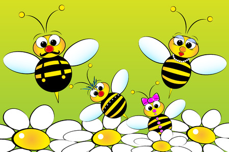 Bee Family:  father, mother and children in a field with flowers. Kids illustration Vettoriali