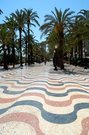 Alicante, Spain -One of the most popular promenade in Spain: Explanada de España in Alicante 版權商用圖片
