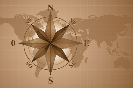 windrose: Map world with compass rose, vintage style Stock Photo