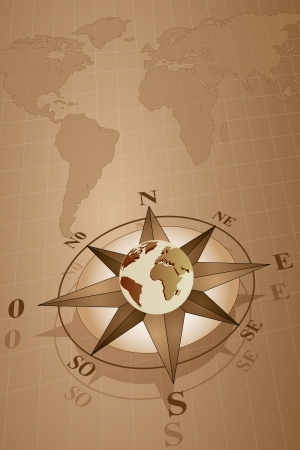 kompassrose: Karte Welt mit Windrose mit Globus, Vintage-Stil