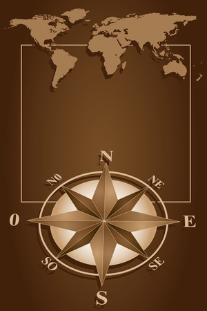 Map world and blank frame with compass rose, vintage style Vector