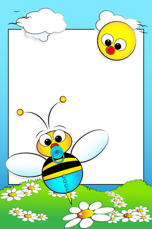 Kid scrapbook with bee and white daisies in a field with sun - Photo or message frame for children