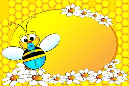 golden daisy: Bee Familia: beb� con flores. Ilustraci�n Infantil