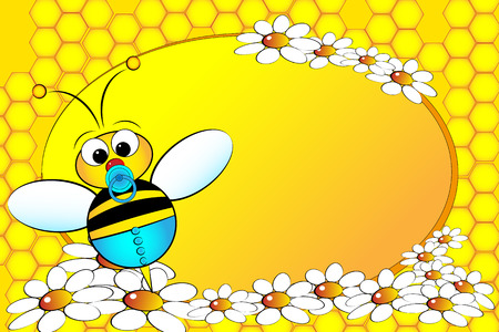 Bee Family: boy with flowers. Kids illustration Vector