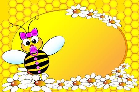 margriet: Bee Familie: baby meisje met bloemen. Kids illustratie